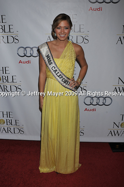 BEVERLY HILLS, CA. - October 18: Miss California USA Tammy Farrell arrives at the First Annual Noble Humanitarian Awards at The Beverly Hilton Hotel on October 18, 2009 in Beverly Hills, California.