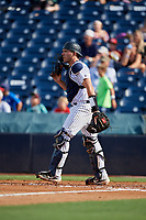Tampa Tarpons catcher Donny Sands (33) during a Florida State League game against the Jupiter Hammerheads on July 26, 2019 at George M. Steinbrenner Field in Tampa, Florida.  Tampa defeated Jupiter 2-0.  (Mike Janes/Four Seam Images)