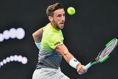 10th January 2018, Sydney Olympic Park Tennis Centre, Sydney, Australia; Sydney International Tennis, round 2; Damir Dzumhur (BIH) hits a backhand return in his match against Alex De Minaur (AUS)