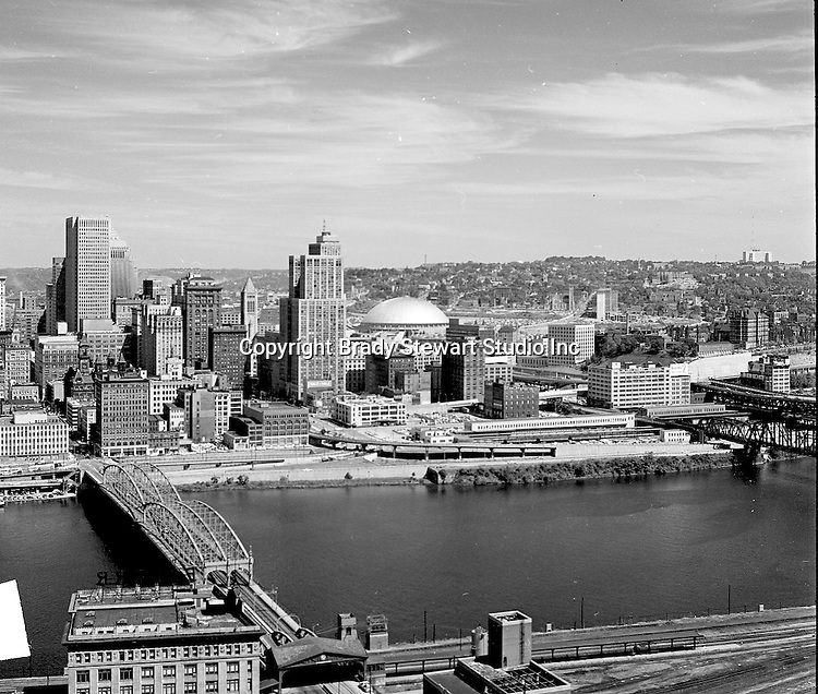 Pittsburgh PA - View of the uptown of Pittsburgh and Civic Area from Mount Washington - 1964. The Civic Arena is in the background.