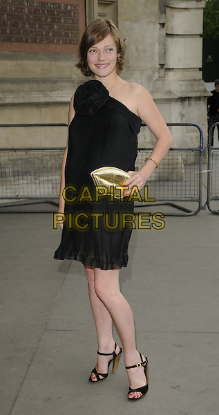 CAMILLA RUTHERFORD.Lulu Guinness' 20th Anniversary Party at the Victoria and Albert Museum, London, England..June 8th, 2009.V&A V & A full length black one shoulder dress clutch bag sheer open toe sandals lips .CAP/CAN.©Can Nguyen/Capital Pictures.