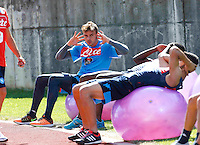 Gabriel<br /> pesi e equiibrismo per i calciatori<br /> ritiro precampionato Napoli Calcio a  Dimaro 18 Luglio 2015<br /> <br /> Preseason summer training of Italy soccer team  SSC Napoli  in Dimaro Italy July 18, 2015