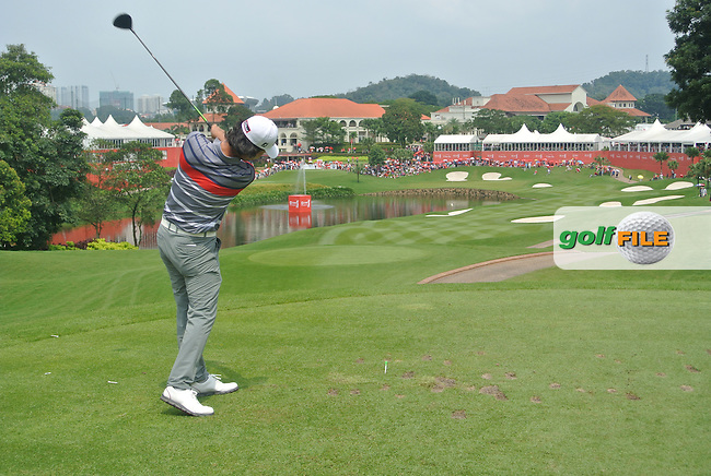 Kevin Na (USA) on the 14th tee during Round 4 of the CIMB Classic in the Kuala Lumpur Golf &amp; Country Club on Sunday 2nd November 2014.<br /> Picture:  Thos Caffrey / www.golffile.ie
