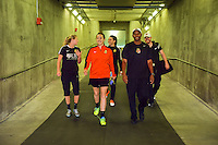 Houston, TX - Sunday Oct. 09, 2016: Western New York Flash, Katelyn Rowland, Demeris Johnson prior to a National Women's Soccer League (NWSL) Championship match between the Washington Spirit and the Western New York Flash at BBVA Compass Stadium.