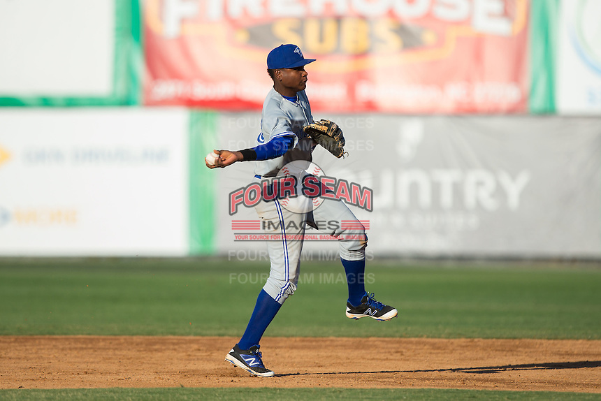 Bluefield Blue Jays shortstop Jesus Severino (33) makes a throw to first base against the Burlington Royals at Burlington Athletic Stadium on June 26, 2016 in Burlington, North Carolina.  The Blue Jays defeated the Royals 4-3.  (Brian Westerholt/Four Seam Images)