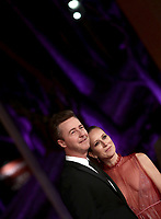 "L'attore e regista statunitense Edward Norton posa con la moglie Shauna Robertson durante il red carpet per la presentazione del suo film ""Motherless Brooklyn"" alla 14^ Festa del Cinema di Roma all'Aufditorium Parco della Musica di Roma, 17 ottobre 2019.<br /> U.S. actor and director Edward Norton poses with his wife  Shauna Robertson during the red carpetl to present the movie ""Motherless Brooklyn"" during the 14^ Rome Film Fest at Rome's Auditorium, on 17 october 2019.<br /> UPDATE IMAGES PRESS/Isabella Bonotto"