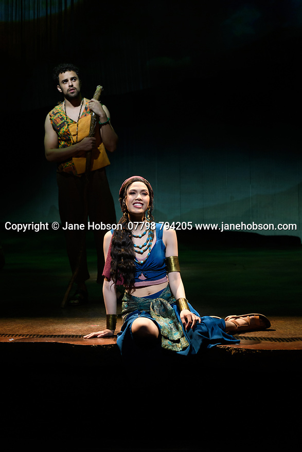 """Luke Brady (Moses), Christine Allado (Tzipporah) in a scene from """"Prince of Egypt"""", at the press photocall at the Dominion Theatre, London. Produced by DreamWorks Theatricals, directed by Scott Schwartz, with choreography by Sean Cheesman, set design by Kevin Depinet, costume design by Ann Hould-Ward and lighting design by Mike Billings."""