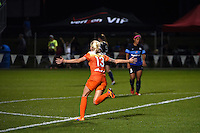 Kansas City, MO - Saturday May 07, 2016: Houston Dash midfielder Denise O'Sullivan (13) celebrates after scoring a goal against FC Kansas City during a regular season National Women's Soccer League (NWSL) match at Swope Soccer Village.