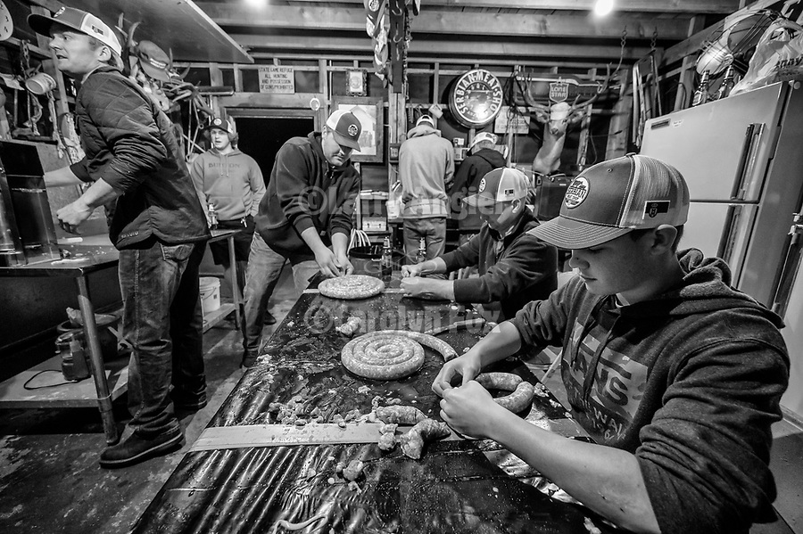 Serbian Meat Shop crew of Amador County prepares and stuffs their Srpska kobasica– Serbian domestic sausage–using their secret recipe and methods during their annual winter gathering.