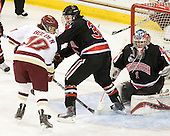 Blake Bolden (BC - 10), Kristi Kehoe (NU - 34), Leah Sulyma (NU - 1) - The Boston College Eagles defeated the visiting Northeastern University Huskies 2-1 on Sunday, January 30, 2011, at Conte Forum in Chestnut Hill, Massachusetts.