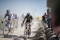 Arnaud D&eacute;mare (FRA/FDJ) &amp; Antoine Duchesne (CAN/Direct Energie) side by side<br /> <br /> 115th Paris-Roubaix 2017 (1.UWT)<br /> One Day Race: Compi&egrave;gne &rsaquo; Roubaix (257km)