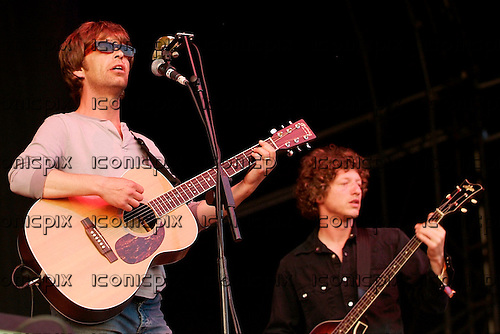 The LA's - vocalist Lee Mavers and bassist John Power - performing live on Day Two on the Other Stage at the 2005 Glastonbury Festival held at Pilton Farm in Somerset UK - 26 Jun 2005.  Photo credit: George Chin/IconicPix