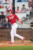 Paul DeJong (21) of the Johnson City Cardinals hits a 2-run home run in the second inning against the Bristol Pirates at Howard Johnson Field at Cardinal Park on July 6, 2015 in Johnson City, Tennessee.  The Cardinals defeated the Pirates 8-2 in game two of a double-header. (Brian Westerholt/Four Seam Images)