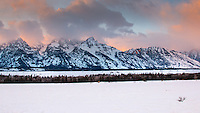 Sunset at the Teton Mountain Range, Teton National Park, Jackson Wyoming.