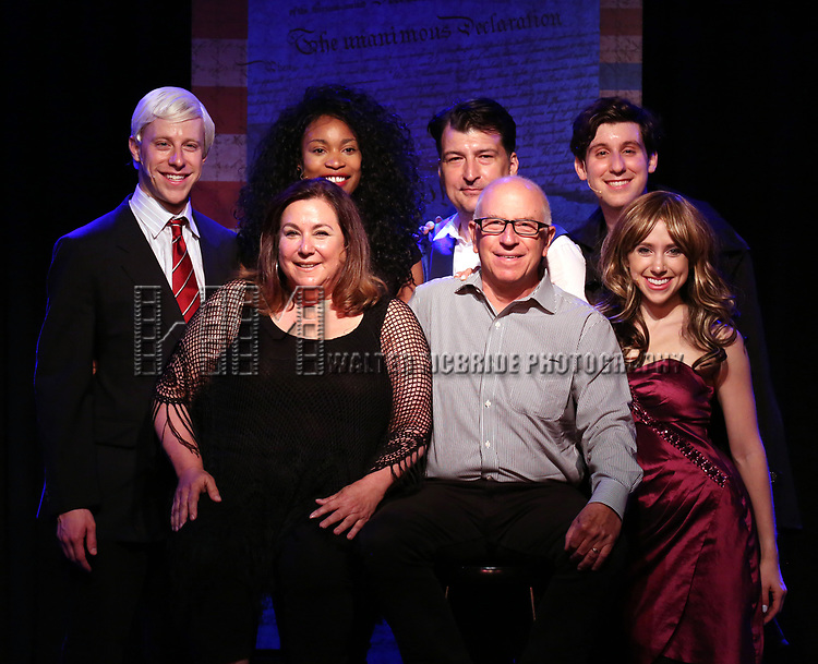 Mitchel Kawash, Nancy Holson, Aiesha Alia Dukes, James Higgins, Jim Russek, Richard Spitaletta, and Mia Weinberger onstage during the 'ME THE PEOPLE: The Trump America Musical' Press Preview Presentation at The Triad Theater on June 21, 2017 in New York City.