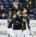 31/01/2009  Copyright Pic: James Stewart.File Name : sct_jspa13_falkirk_v_aberdeen.MICHAEL HIGDON IS CONGRATULATED AFTER HE SCORES FALKIRK'S GOAL.James Stewart Photo Agency 19 Carronlea Drive, Falkirk. FK2 8DN      Vat Reg No. 607 6932 25.Studio      : +44 (0)1324 611191 .Mobile      : +44 (0)7721 416997.E-mail  :  jim@jspa.co.uk.If you require further information then contact Jim Stewart on any of the numbers above.........