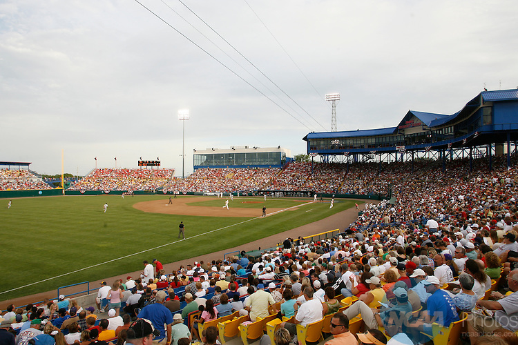 23 JUNE 2008:  Fresno State University takes on the University of Georgia during the Division I Men's Baseball Championship held at Rosenblatt Stadium in Omaha, NE.  Jamie Schwaberow/NCAA Photos