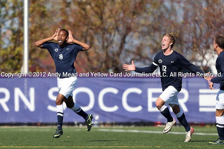 21 October 2012: Penn State's Hasani Sinclair (8) celebrates his game winning goal with Owen Griffith (12). The Northwestern University Wildcats played the Penn State University Nittany Lions at Lakeside Field in Evanston, Illinois in a 2012 NCAA Division I Men's Soccer game. Penn State won the game 1-0 in golden goal overtime.