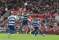 Stoke City's Lee Gregory beats Queens Park Rangers' Grant Hall to the ball <br /> <br /> Photographer Stephen White/CameraSport<br /> <br /> The EFL Sky Bet Championship - Stoke City v Queens Park Rangers - Saturday 3rd August 2019 - bet365 Stadium - Stoke-on-Trent<br /> <br /> World Copyright © 2019 CameraSport. All rights reserved. 43 Linden Ave. Countesthorpe. Leicester. England. LE8 5PG - Tel: +44 (0) 116 277 4147 - admin@camerasport.com - www.camerasport.com