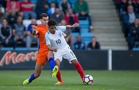 Justin HOOGMA of Netherlands bring down Marcus EDWARDS of England resulting in the goal scoring free kick during the International friendly match between England U20 and Netherlands U20 at New Bucks Head, Telford, England on 31 August 2017. Photo by Andy Rowland.