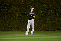 Cleveland Indians center fielder Tyler Naquin (30) in the third inning during Game 3 of the Major League Baseball World Series against the Chicago Cubs on October 28, 2016 at Wrigley Field in Chicago, Illinois.  (Mike Janes/Four Seam Images)
