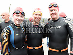 hannah Brady, Jennifer Doonan and Pete Tiernan who took part in the Round the Head swim at Clogherhead. Photo:Colin Bell/pressphotos.ie