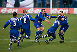 Curzon Ashton v Exeter City, 08/11/2008. FA Cup first round, Tameside Stadium. Players of Curzon Ashton react with delight to their side's second goal scored by James Ogoo (second from right) against Exeter City in the FA Cup first round tie at the Tameside Stadium, Ashton-under-Lyne. The home team, who play in the Unibond first division north won the match 3-2 against their opponents from Coca Cola League 2, four divisions above Curzon Ashton. It was the home side's first-ever appearance in the FA Cup proper and their reward for winning the match was an away tie at Conference team Kidderminster Harriers. Photo by Colin McPherson.