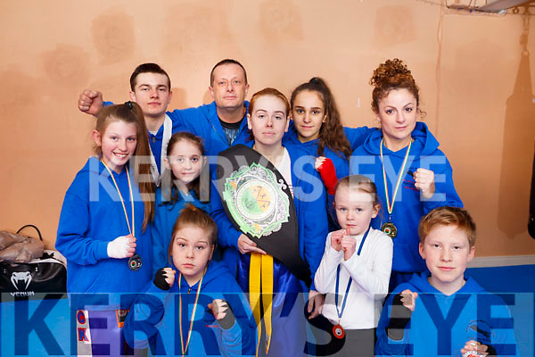 White Panther Martial Art, Tralee celebrate in collecting the title of Grand Champion at the recent Best of the Best Championships in Kildare and also 8 Silver medals at the same event.<br /> Kneeling front is Edel and Luke O&rsquo;Connor.<br /> Standing l to r: Katelyn Moore, Zack O&rsquo;Connor, Edel O&rsquo;Connor, Steve O&rsquo;Connor, Nicole O&rsquo;Sullivan (Grand Champion), Victoria Fitzgerald, Ellie O&rsquo;Brien and Joanna Conlon.