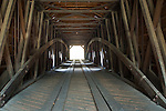 Interiorof the wooden Bridgeport Covered Bridge, South Yuba River State Park, Nevada County, California