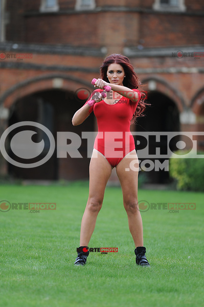 EXCLUSIVE PICTURE: MATRIXPICTURES.CO.UK.PLEASE CREDIT ALL USES..WORLD RIGHTS..English reality television personality Amy Childs is pictured as she exercises in a flattering one-pice jumpsuit in London...APRIL 18th 2013..REF: CAN 132558