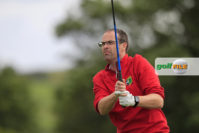 David Farrell (Roscommon) on the 1st tee during the Final of the AIG Jimmy Bruen Shield in the AIG Cups & Shields Connacht Finals 2019 in Westport Golf Club, Westport, Co. Mayo on Sunday 11th August 2019.<br /> <br /> Picture:  Thos Caffrey / www.golffile.ie<br /> <br /> All photos usage must carry mandatory copyright credit (© Golffile | Thos Caffrey)