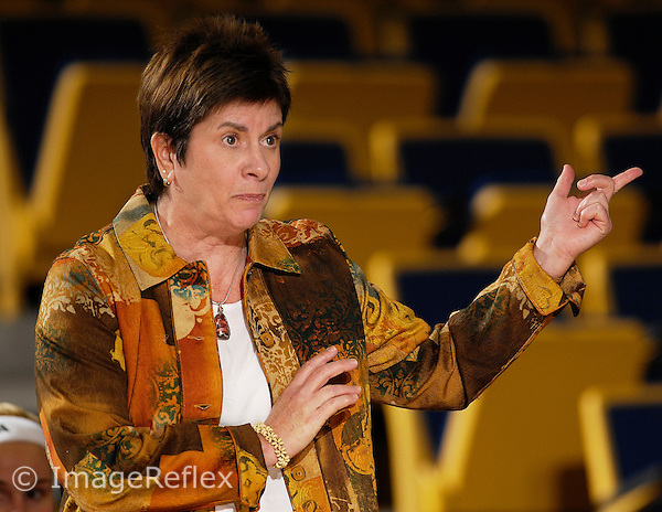 19 January 2008: Florida International Women's Basketball Head Coach Cindy Russo signals to her players in the first half of the Louisiana-Monroe 53-50 victory over FIU at the Pharmed Arena in Miami, Florida.