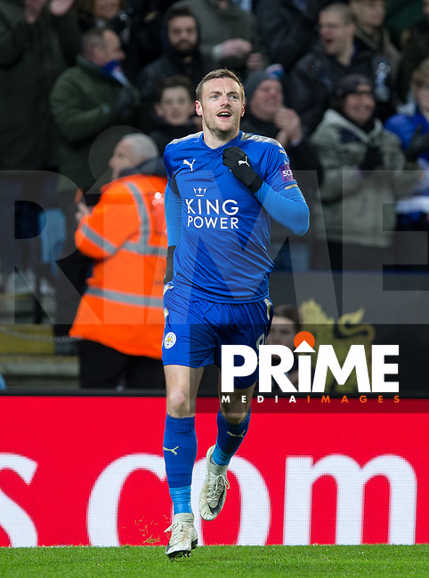 Jamie Vardy of Leicester City celebrates his goal during the FA Cup 5th round match between Leicester City and Sheff United at the King Power Stadium, Leicester, England on 16 February 2018. Photo by Andy Rowland.