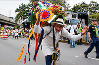 The winner of the best silleta displays it during the 58th Silleteros' parade in the framework of the flowers' fair, this year the parade was declared intangible heritage of Colombia. Medellín, Colombia 09/08/2015