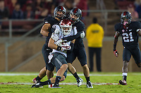 STANFORD, CA - OCTOBER 10, 2014: Blake Martinez and Zach Hoffpauir during Stanford's game against Washington State. The Cardinal defeated the Cougars 34-17.