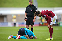 Fleetwood Town's Conor McAleny lies injured after a collision with Northampton Town's Matt Crooks <br /> <br /> Photographer Andrew Kearns/CameraSport<br /> <br /> The EFL Sky Bet League One - Northampton Town v Fleetwood Town - Saturday August 12th 2017 - Sixfields Stadium - Northampton<br /> <br /> World Copyright &copy; 2017 CameraSport. All rights reserved. 43 Linden Ave. Countesthorpe. Leicester. England. LE8 5PG - Tel: +44 (0) 116 277 4147 - admin@camerasport.com - www.camerasport.com