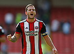 Billy Sharp of Sheffield Utd celebrates the win during the Championship match at Bramall Lane, Sheffield. Picture date 26th August 2017. Picture credit should read: Simon Bellis/Sportimage