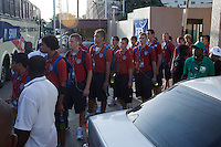 USMNT U17 boards the bus. Spain defeated the U.S. Under-17 Men National Team  2-1 at Sani Abacha Stadium in Kano, Nigeria on October 26, 2009.