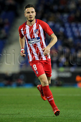 22nd December 2017, Cornella-El Prat, Cornella de Llobregat, Barcelona, Spain; La Liga football, Espanyol versus Atletico Madrid; Saul Ñiguez of Atlético de Madrid breaks into attack during the match