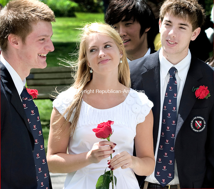 WASHINGTON CT.-2 JUNE  2011  060211DA06-Leonard Brown, left,  shares a smile with twins, Lauren and Mark Castaldi, just before their graduation ceremonies begins for The Gunnery in Washington held at The Congregational Church on Thursday.<br /> Darlene Douty Republican American