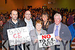Liam Brennan Listowel, Mary Hanlon Listowel, Liam Walsh Finuge, Stephen Keane and Noelle O'Connell Listowel at the protest meeting against cuts to Community Scheme's in Farranfore Community Centre on Thursday evening......