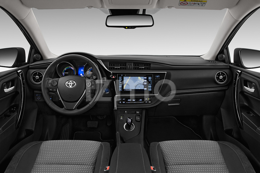 Stock photo of straight dashboard view of a 2018 Toyota Auris Hybrid Black Edition 5 Door Hatchback