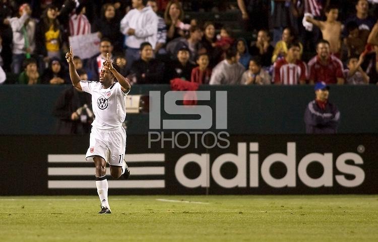 DC United's Luciano Emilio celebrates his goal. The DC United and Chivas USA played to a 2-2 tie at Home Depot Center stadium in Carson, California on Saturday May 16, 2009.   .
