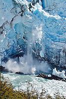 Icefall from the massive Glacier Perito Moreno in Parque Nacionales los Glaciares, Argentina.