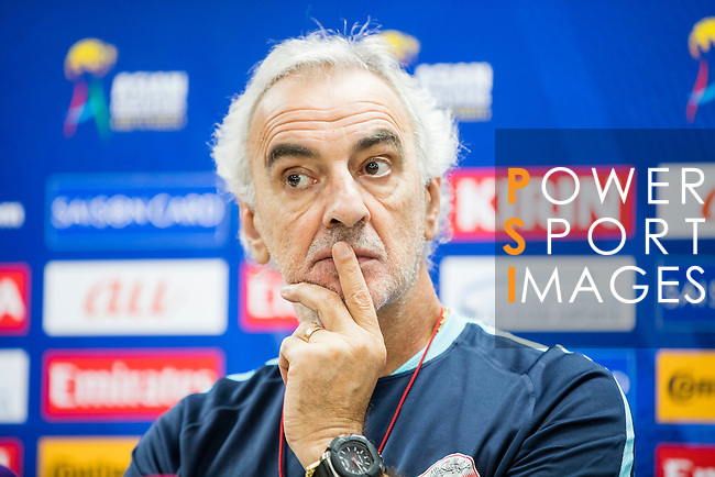 Jorge Daniel Fossati and Hassan Al-Haidos, coach and striker of Qatar national team, attend a press conference ahead their 2018 FIFA World Cup Russia Final Qualification Round Group A match against Qatar at Suwon World Cup Stadium on 05 October 2016, in Suwon, Korea. Photo by Victor Fraile / Power Sport Images