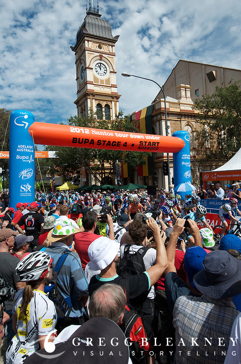 Fans at stage 4 start - 2012 Santos Tour Down Under - Adelaide