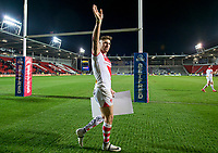 Picture by Allan McKenzie/SWpix.com - 06/04/2018 - Rugby League - Betfred Super League - St Helens v Hull FC - The Totally Wicked Stadium, Langtree Park, St Helens, England - St Helens's Tommy Makinson thanks the fans for their support after victory over Hull FC.