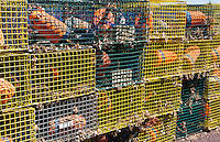 Canada St Martins New Brunswick close up of lobster traps in small fishing village for trapping lobsters and fishing