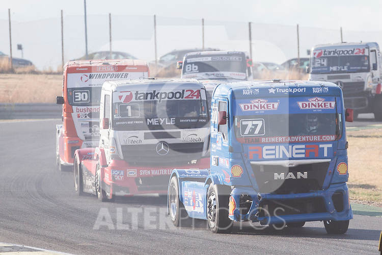 Hungarian driver Norbert Kiss belonging German team Tankpool 24 Racing and German driver Rene Reinert belonging German team Rene Reinert during the fist race R1 of the XXX Spain GP Camion of the FIA European Truck Racing Championship 2016 in Madrid. October 01, 2016. (ALTERPHOTOS/Rodrigo Jimenez)