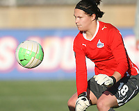 Erin McLeod #18 of the Washington Freedom fists the ball away during a WPS match against the Boston Breakers on May 8 2010, at the Maryland Soccerplex, in Boyds, Maryland. The game ended in a 0-0 tie.